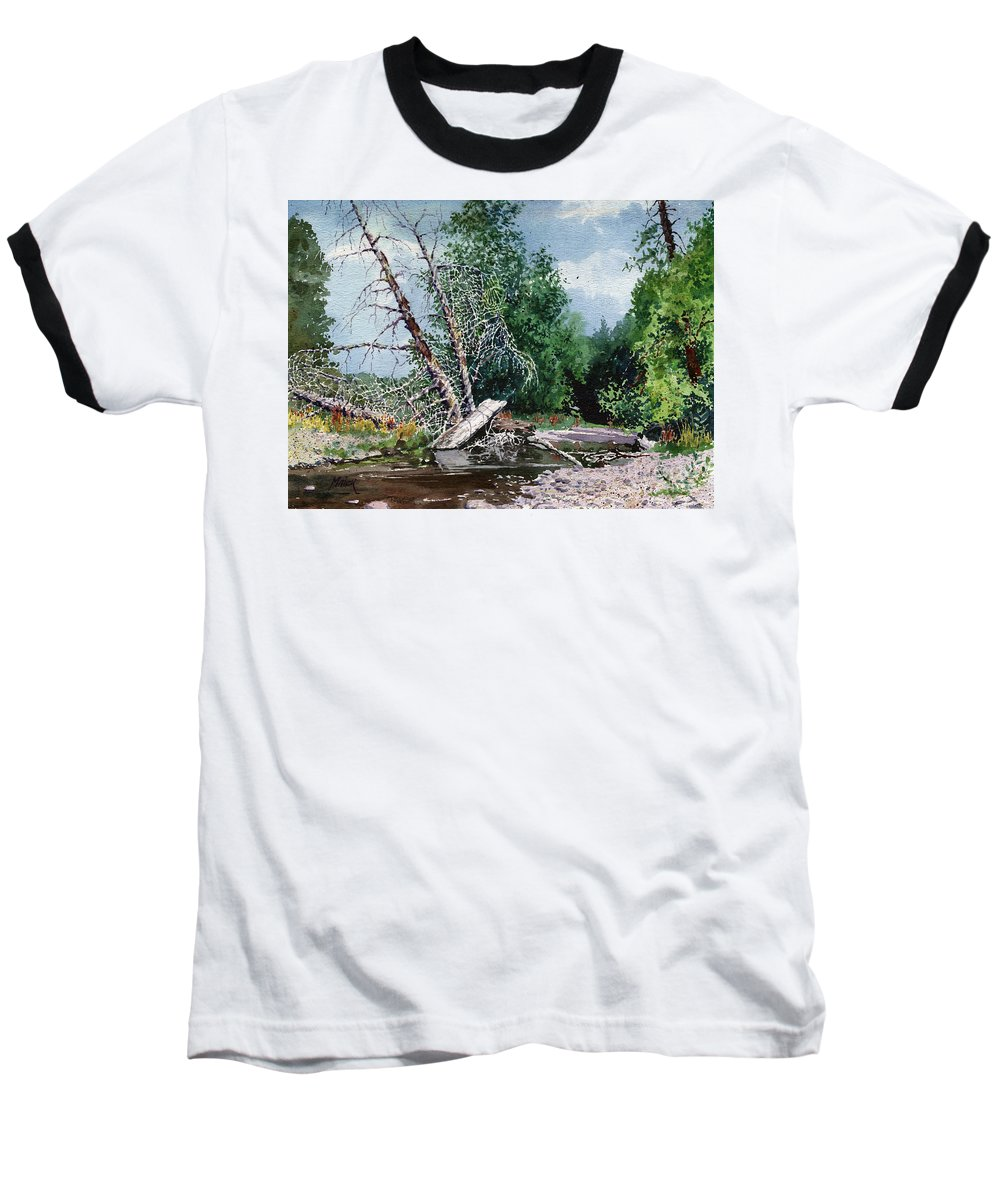 Washington State Baseball T-Shirt featuring the painting Log Jam by Donald Maier