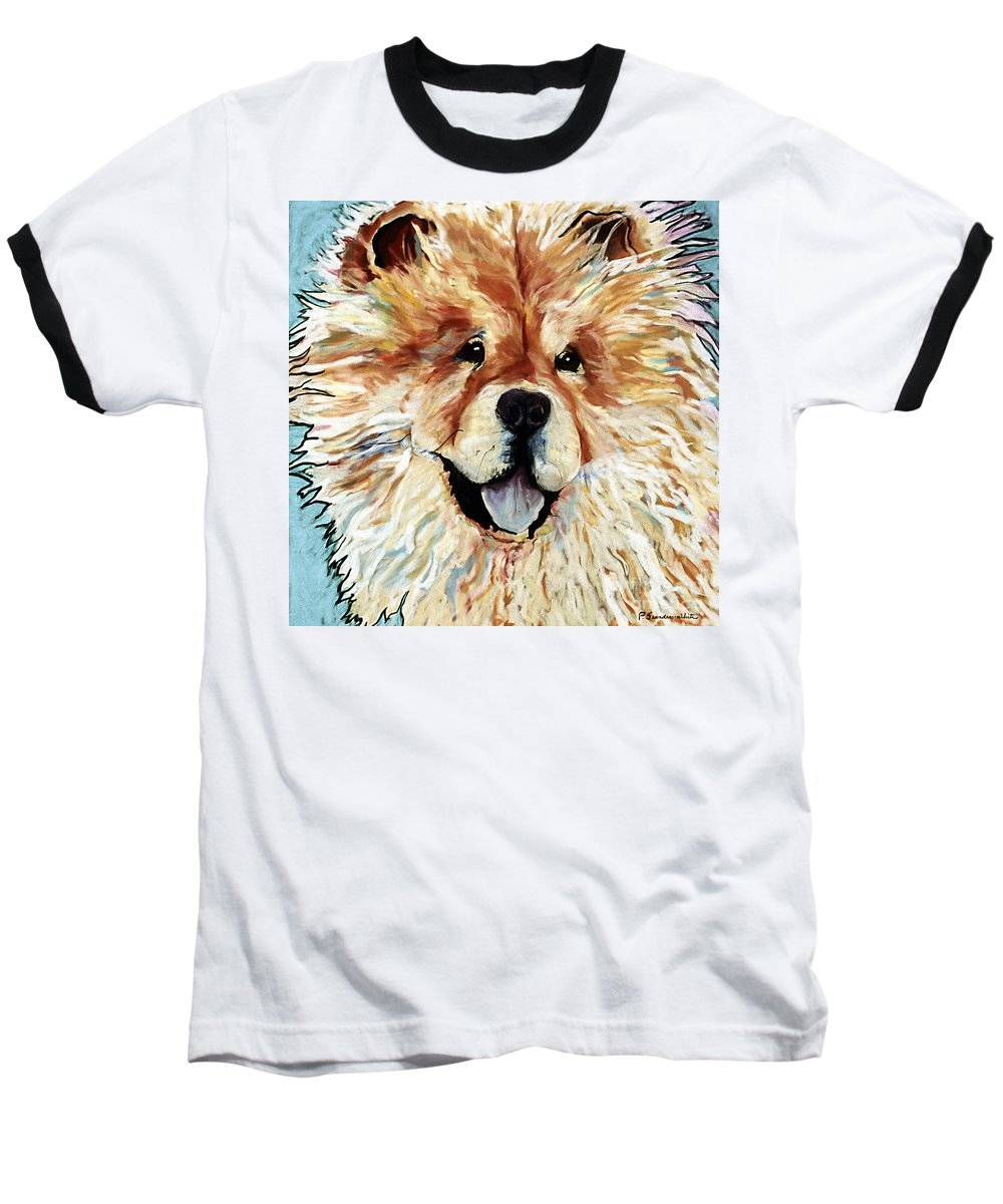 Chow Chow Baseball T-Shirt featuring the pastel Madame Chu Cho by Pat Saunders-White