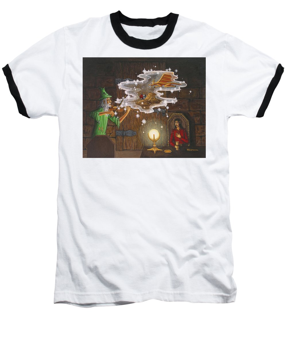 Fantasy Baseball T-Shirt featuring the painting Magic Violin by Roz Eve