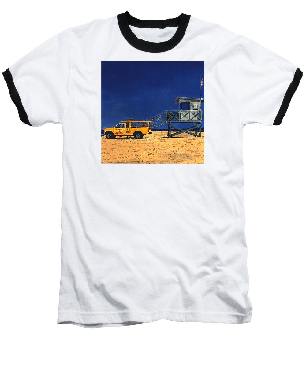 Modern Baseball T-Shirt featuring the painting Manhattan Beach Lifeguard Station Side by Lance Headlee