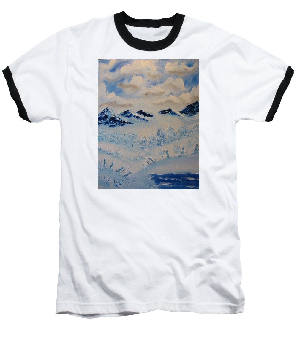 Blue Baseball T-Shirt featuring the painting Many Valleys by Laurie Kidd