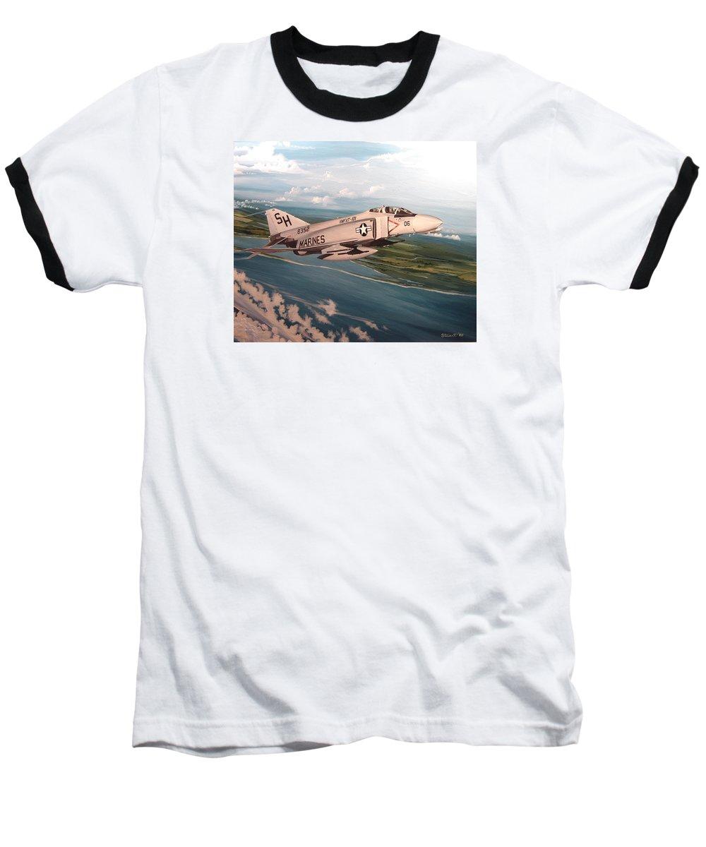 Aviation Baseball T-Shirt featuring the painting Marine Phantom by Marc Stewart