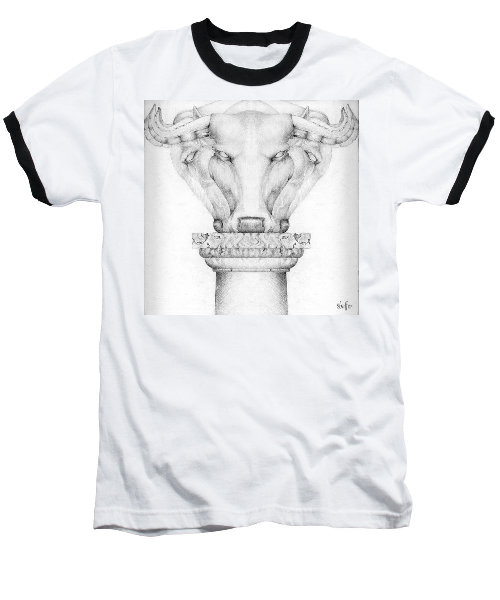 Bull Baseball T-Shirt featuring the drawing Mesopotamian Capital by Curtiss Shaffer
