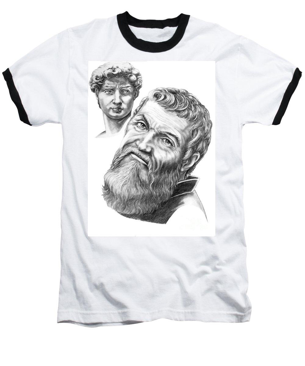 Michelangelo Baseball T-Shirt featuring the drawing Michelangelo And David by Murphy Elliott