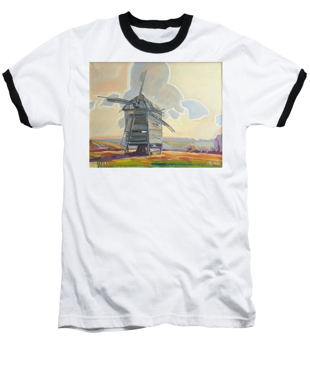 Oil Baseball T-Shirt featuring the painting Mill by Sergey Ignatenko