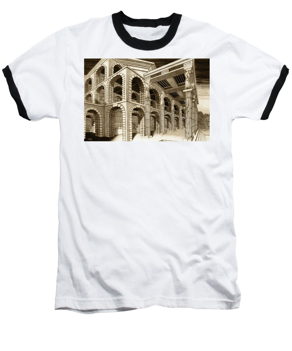 Mithlond Baseball T-Shirt featuring the drawing Mithlond Gray Havens by Curtiss Shaffer