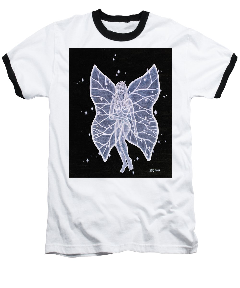 Fairy Baseball T-Shirt featuring the painting Moon Fairy by Roz Eve