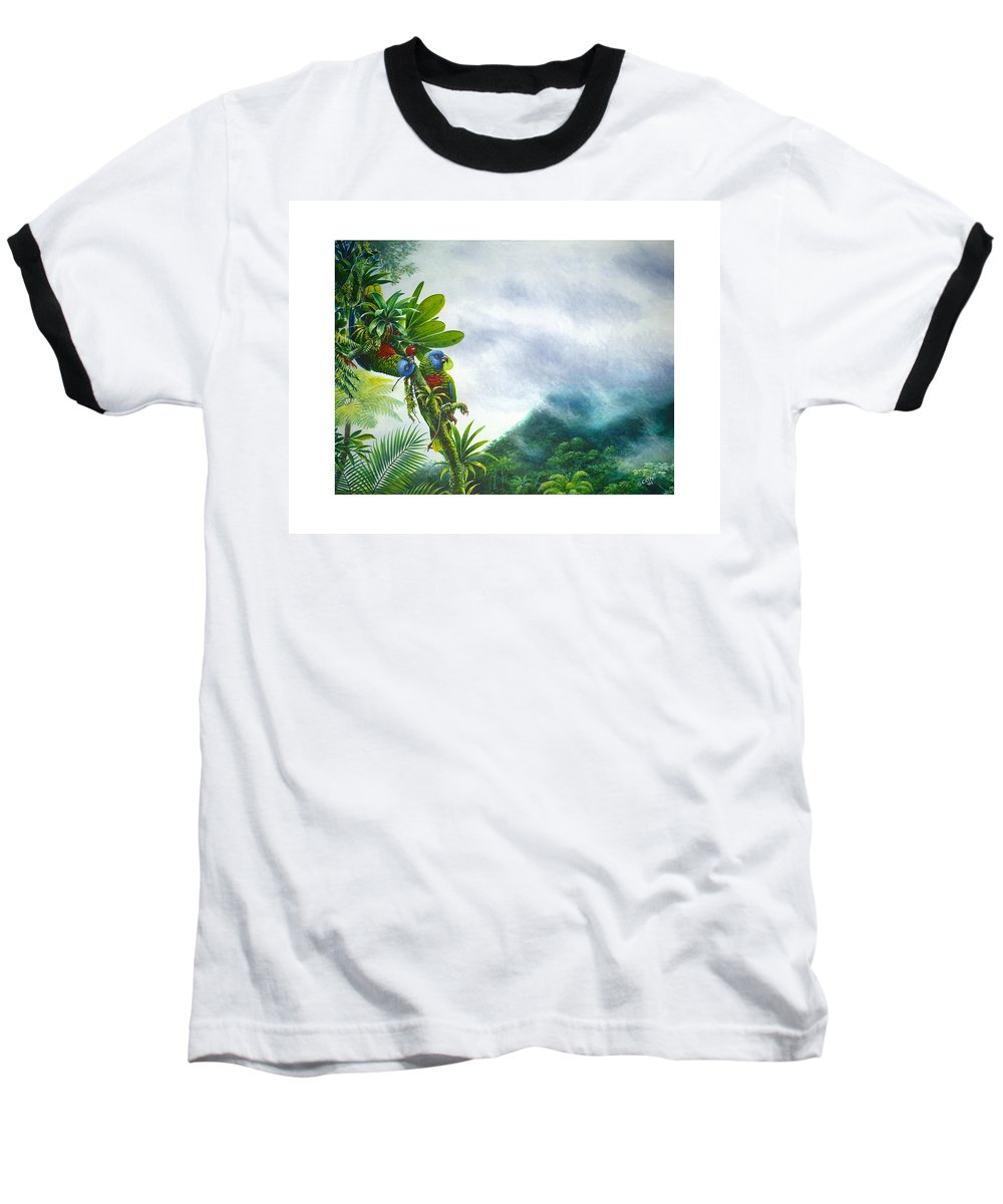 Chris Cox Baseball T-Shirt featuring the painting Mountain High - St. Lucia Parrots by Christopher Cox