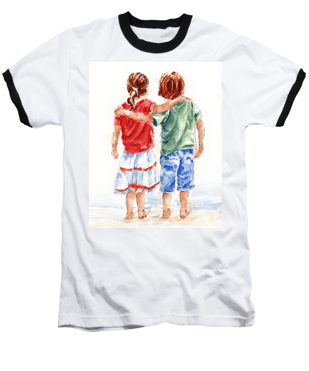 Watercolour Baseball T-Shirt featuring the painting My Friend by Stephie Butler