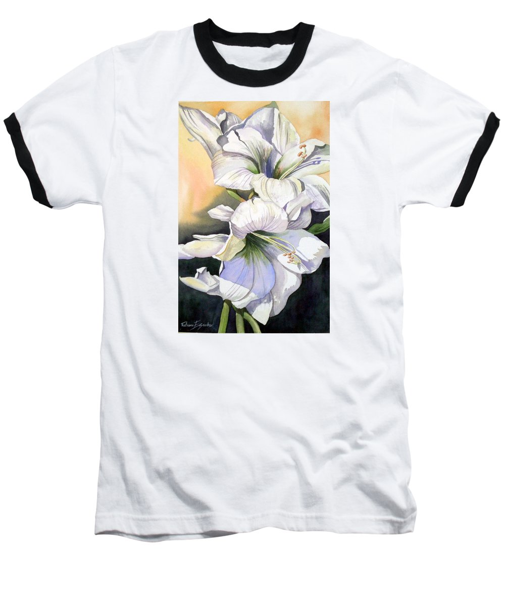 Flower Baseball T-Shirt featuring the painting My Love by Tatiana Escobar
