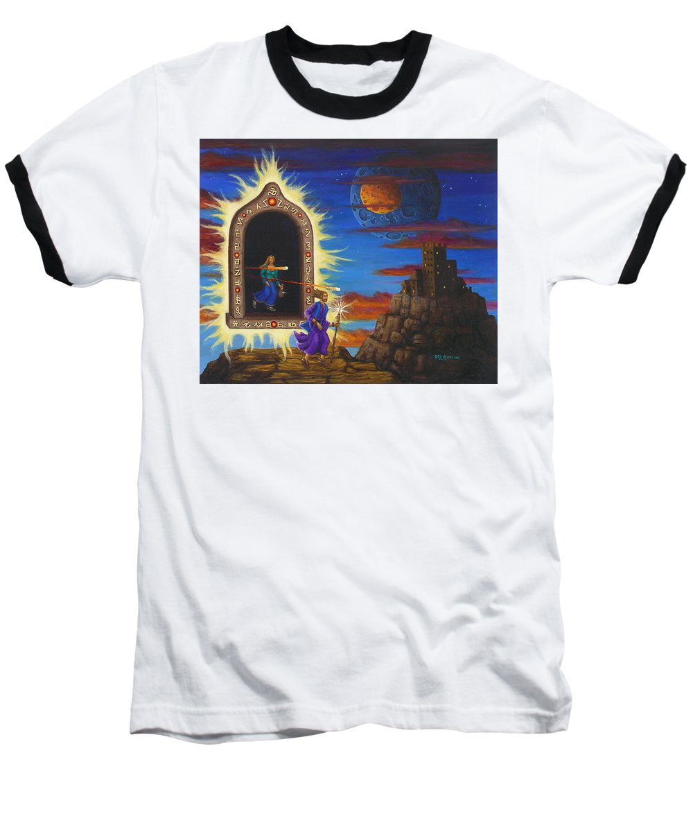 Fantasy Baseball T-Shirt featuring the painting Narrow Escape by Roz Eve