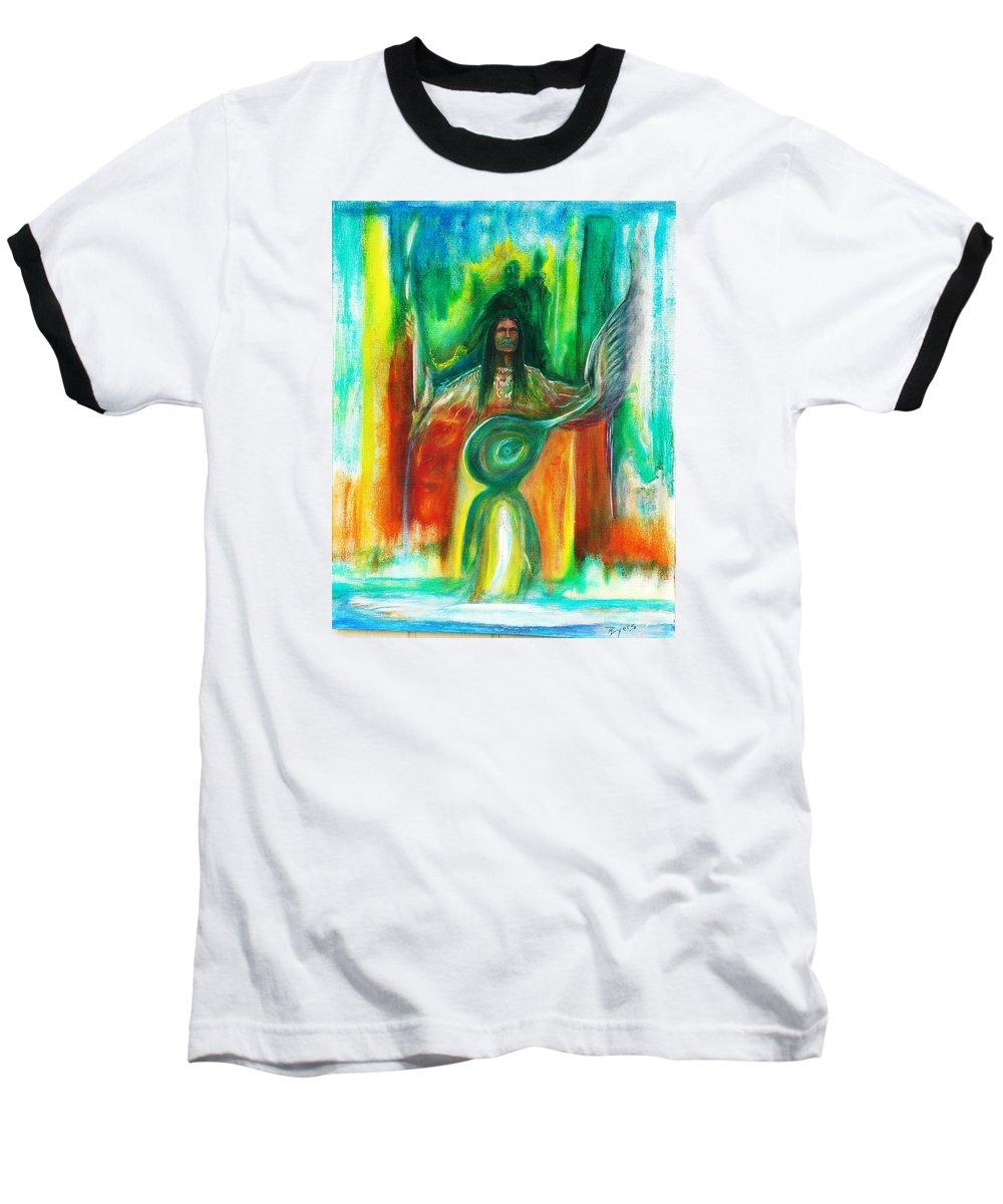 Native American Baseball T-Shirt featuring the painting Native Awakenings by Kicking Bear Productions