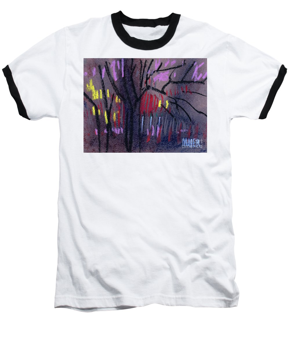 Abstract Baseball T-Shirt featuring the drawing Neighbor's Lights by Donald Maier