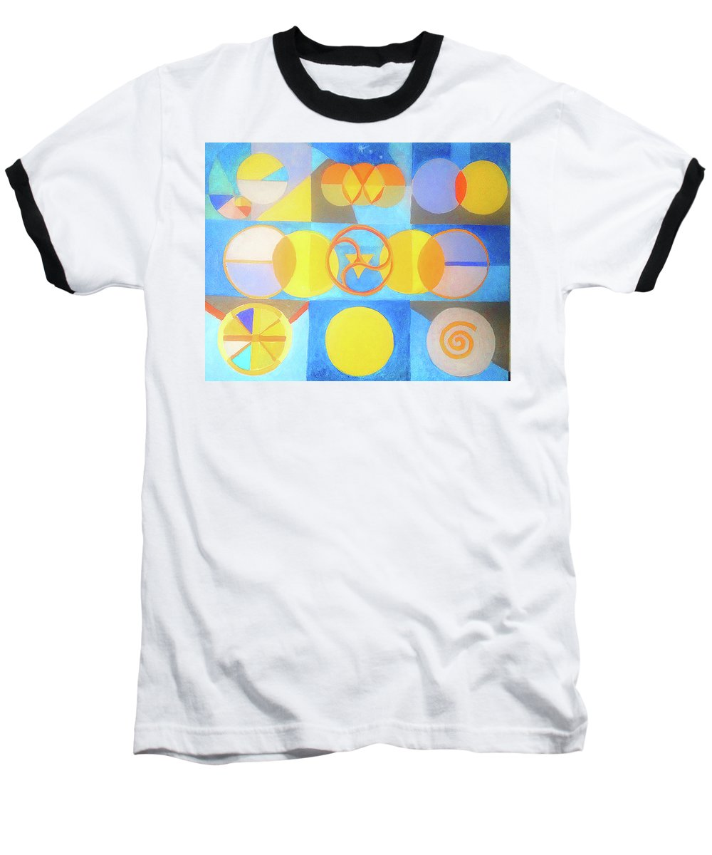 Circles Baseball T-Shirt featuring the painting Geometrica 1 by Suzanne Cerny