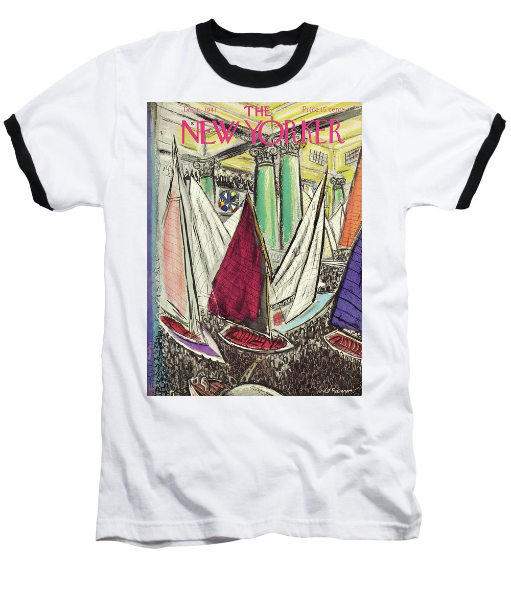 Sailboats Baseball T-Shirt featuring the painting New Yorker January 11 1941 by Victor De Pauw