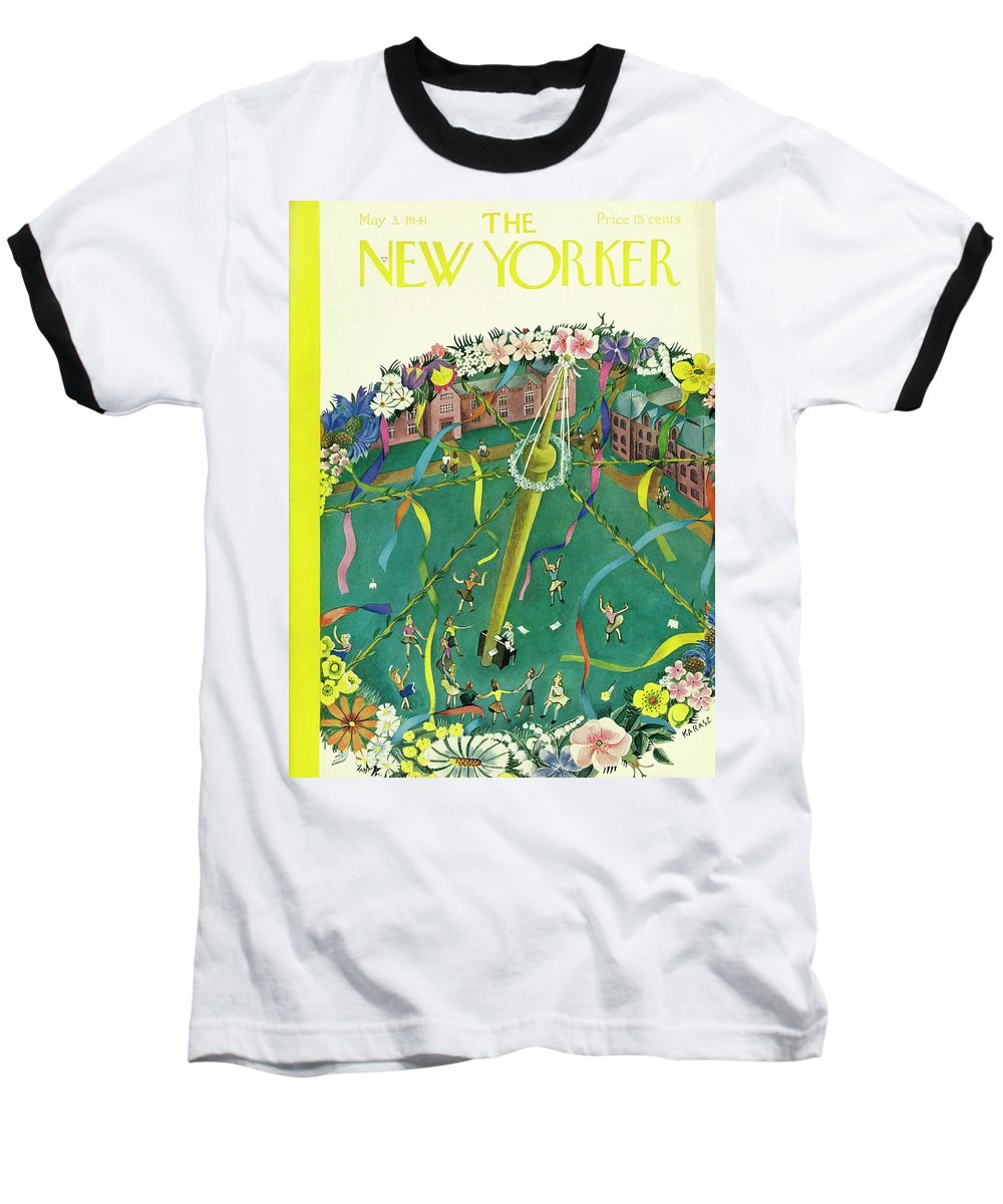 Spring Baseball T-Shirt featuring the painting New Yorker May 3 1941 by Ilonka Karasz