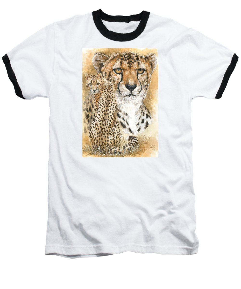 Cheetah Baseball T-Shirt featuring the mixed media Nimble by Barbara Keith