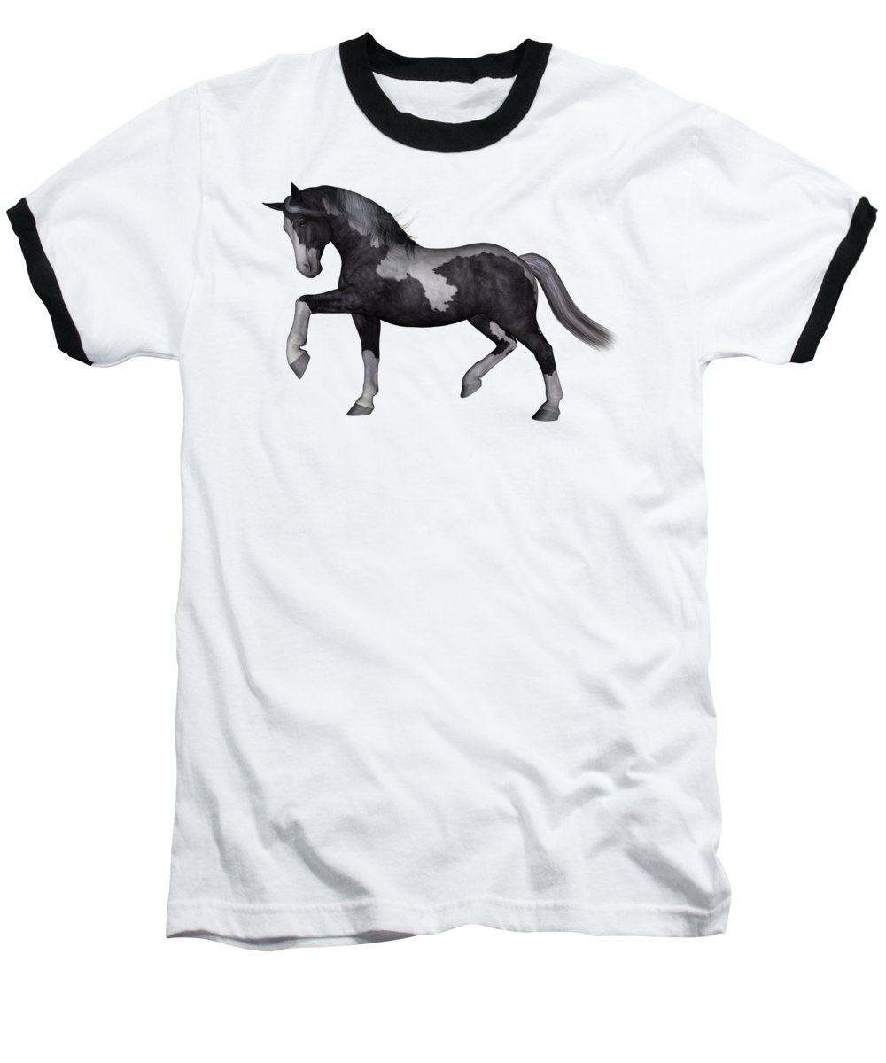 Horse Baseball T-Shirt featuring the digital art North Star by Betsy Knapp