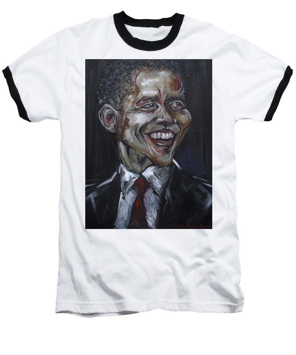 Barack Obama Baseball T-Shirt featuring the painting Obama by Julie Fischer