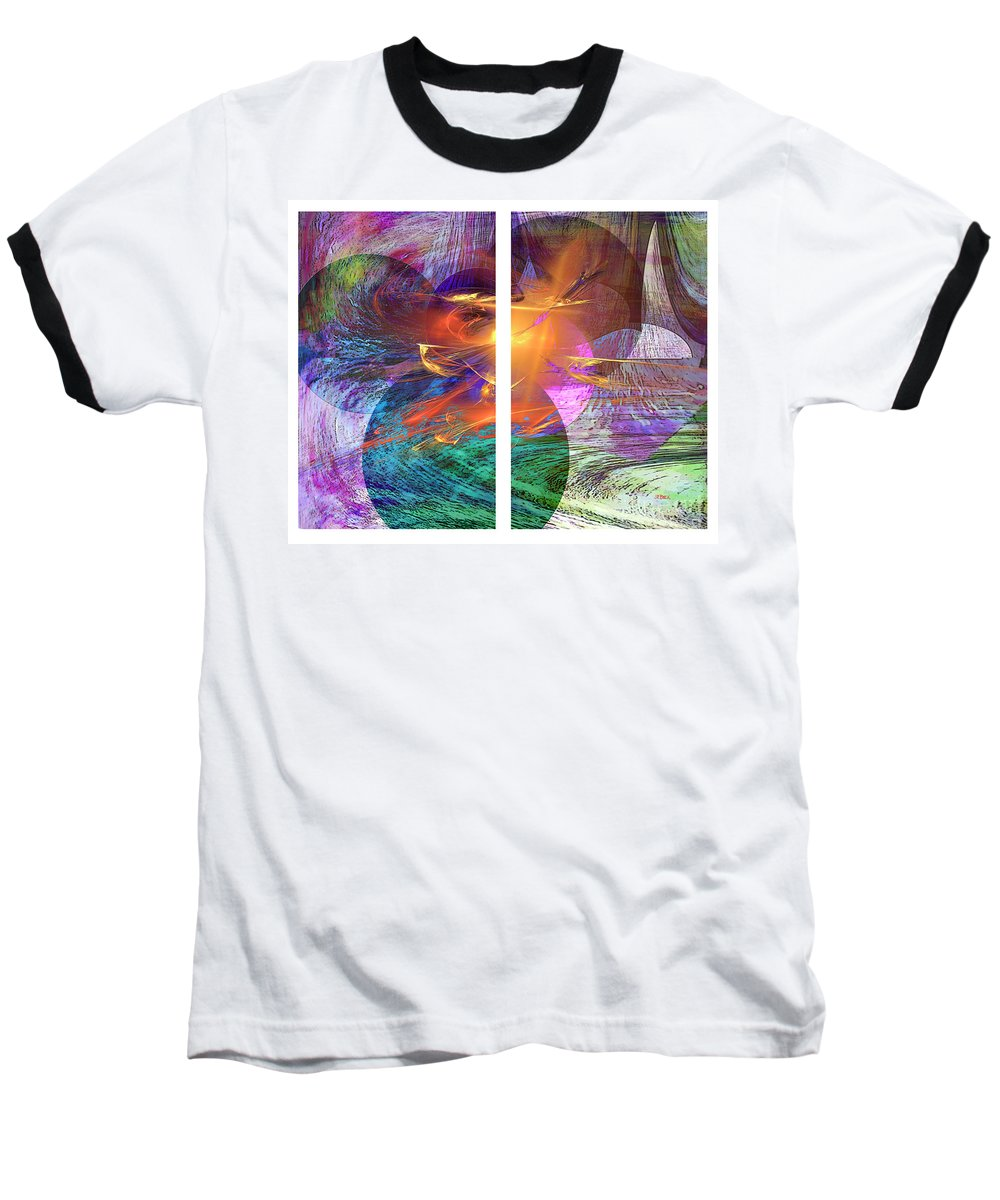 Ocean Fire Baseball T-Shirt featuring the digital art Ocean Fire by John Beck