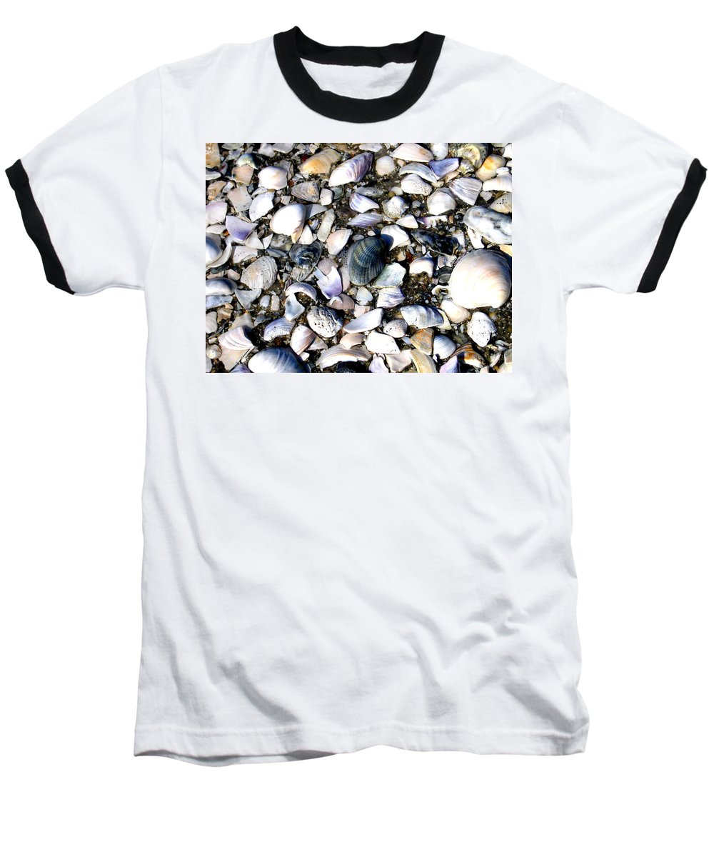 Ocracoke Baseball T-Shirt featuring the photograph Ocracoke Shells by Wayne Potrafka