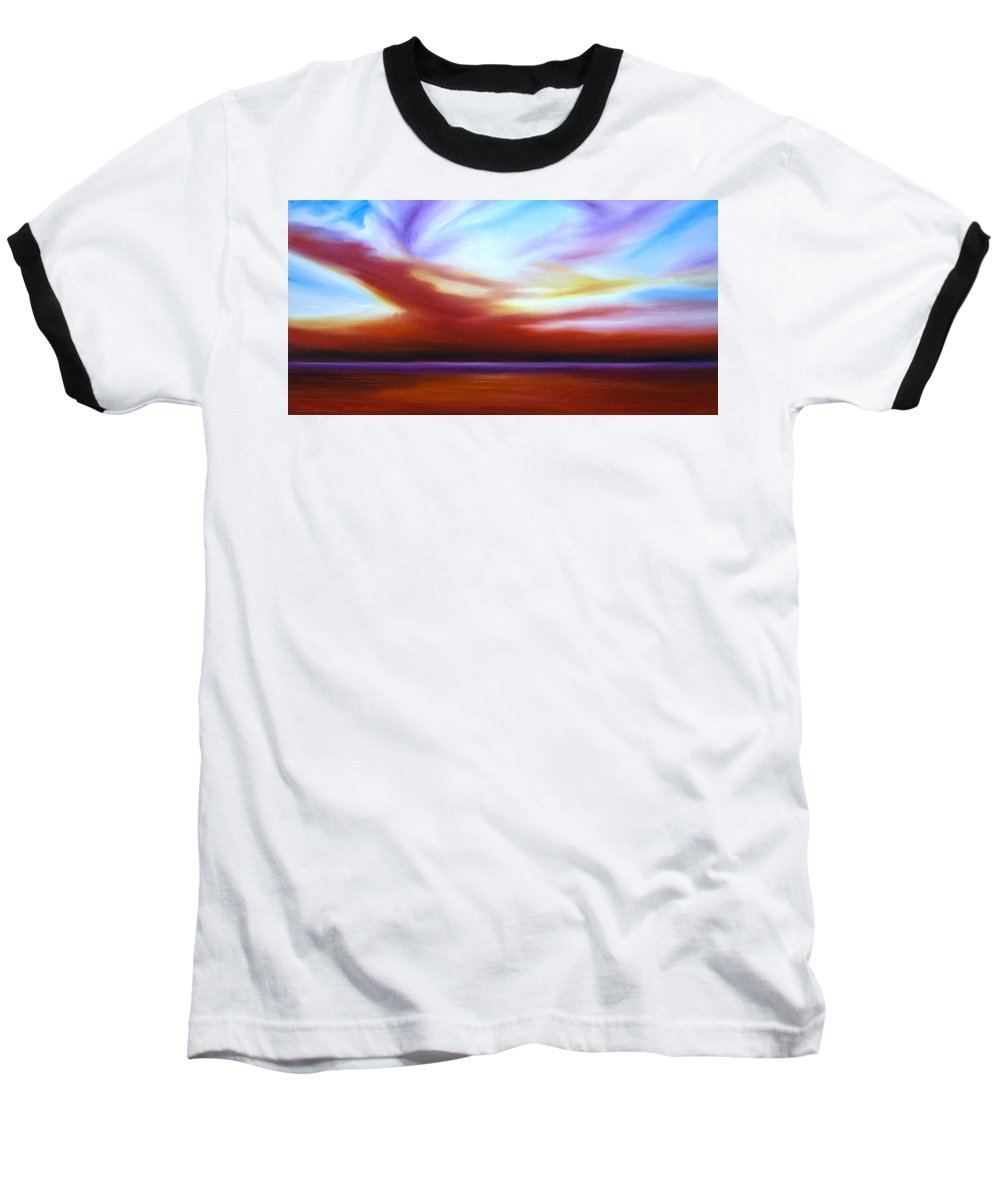 Skyscape Baseball T-Shirt featuring the painting October Sky IIi by James Christopher Hill