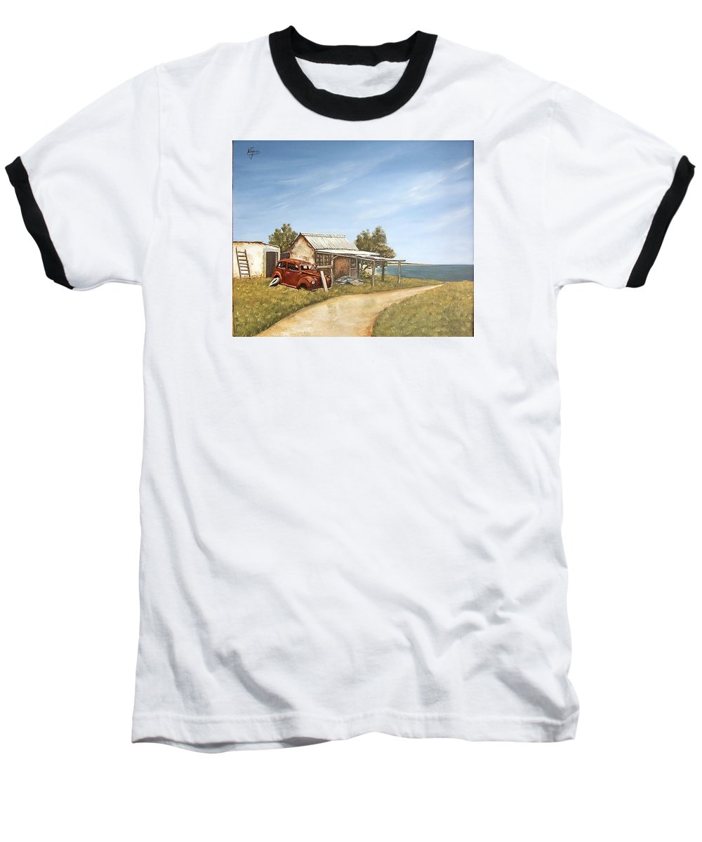 Old House Sea Seascape Landscape Baseball T-Shirt featuring the painting Old House By The Sea by Natalia Tejera