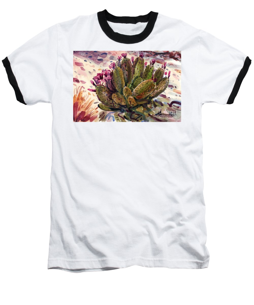 Opuntia Cactus Baseball T-Shirt featuring the painting Opuntia Cactus by Donald Maier