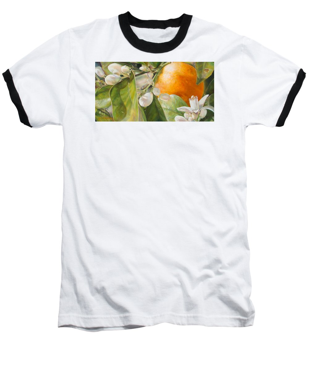 Floral Painting Baseball T-Shirt featuring the painting Orange Fleurie by Dolemieux