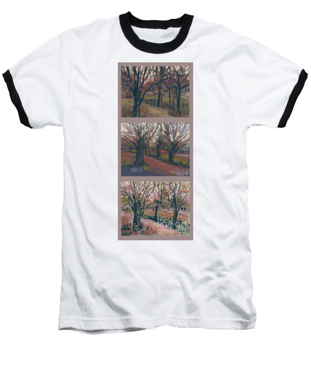 Pastel Baseball T-Shirt featuring the drawing Orchard Sunset by Donald Maier