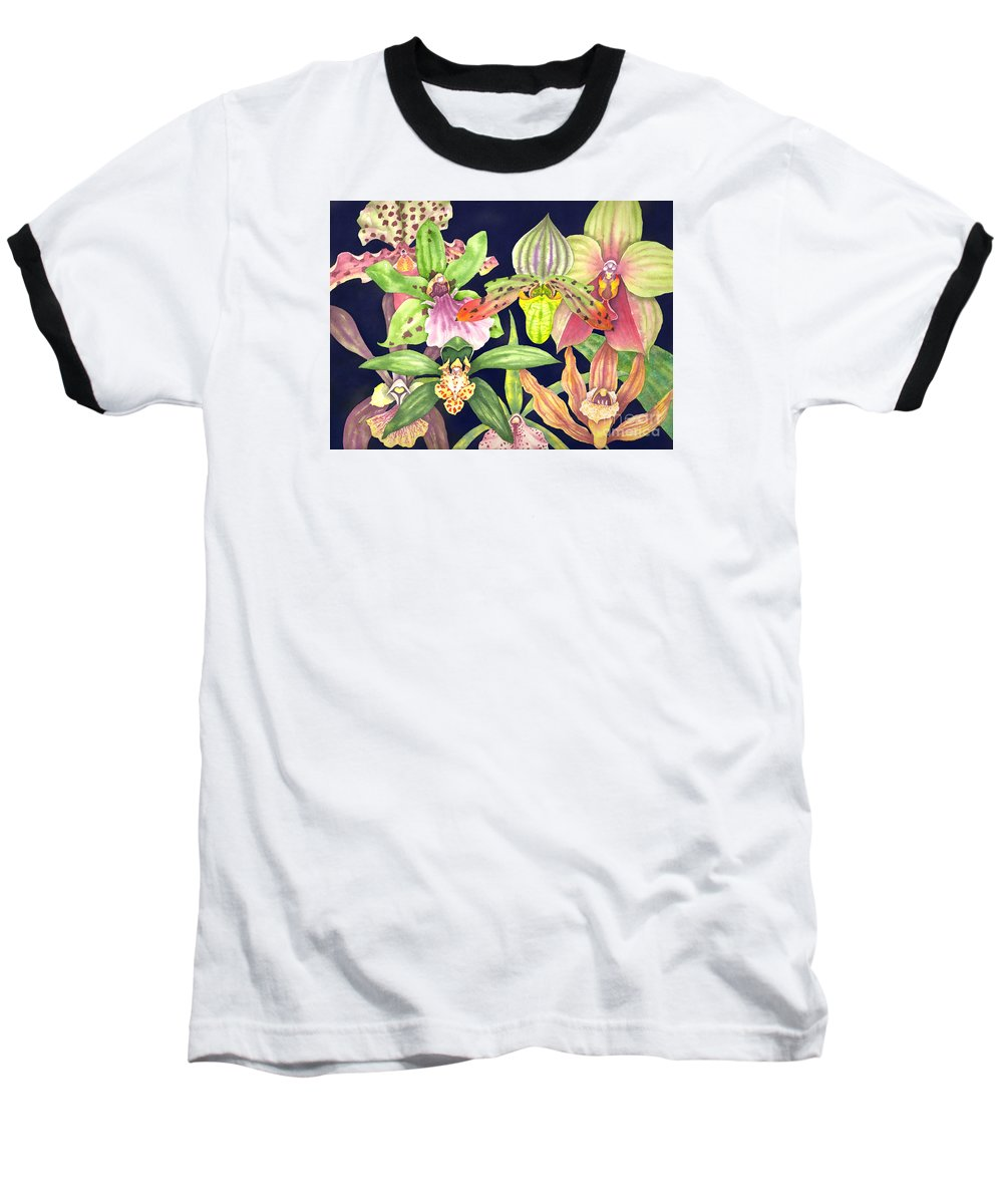 Orchids Baseball T-Shirt featuring the painting Orchids by Lucy Arnold