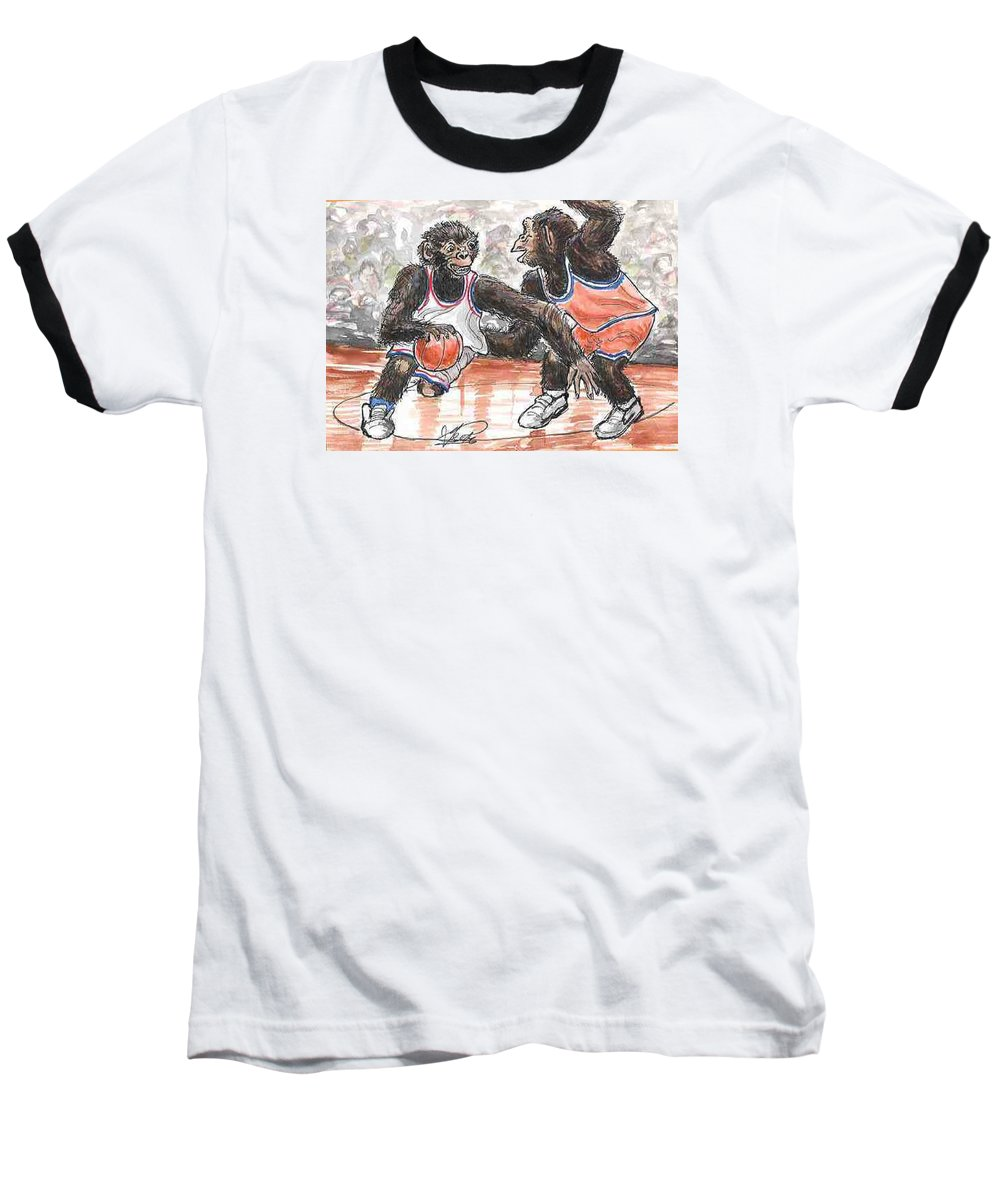 Basketball Baseball T-Shirt featuring the painting Out Of My Way by George I Perez