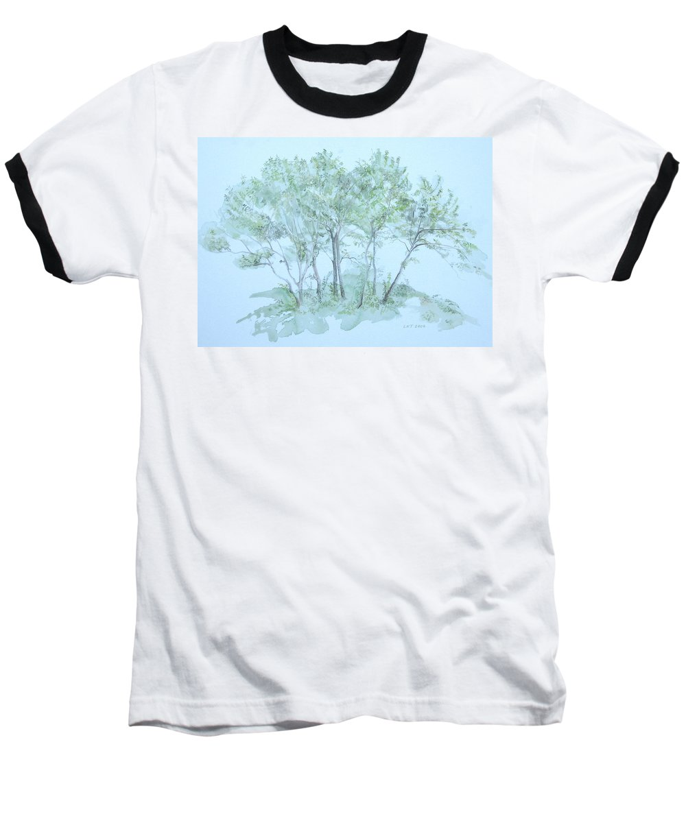 Trees Baseball T-Shirt featuring the painting Outer Banks by Leah Tomaino