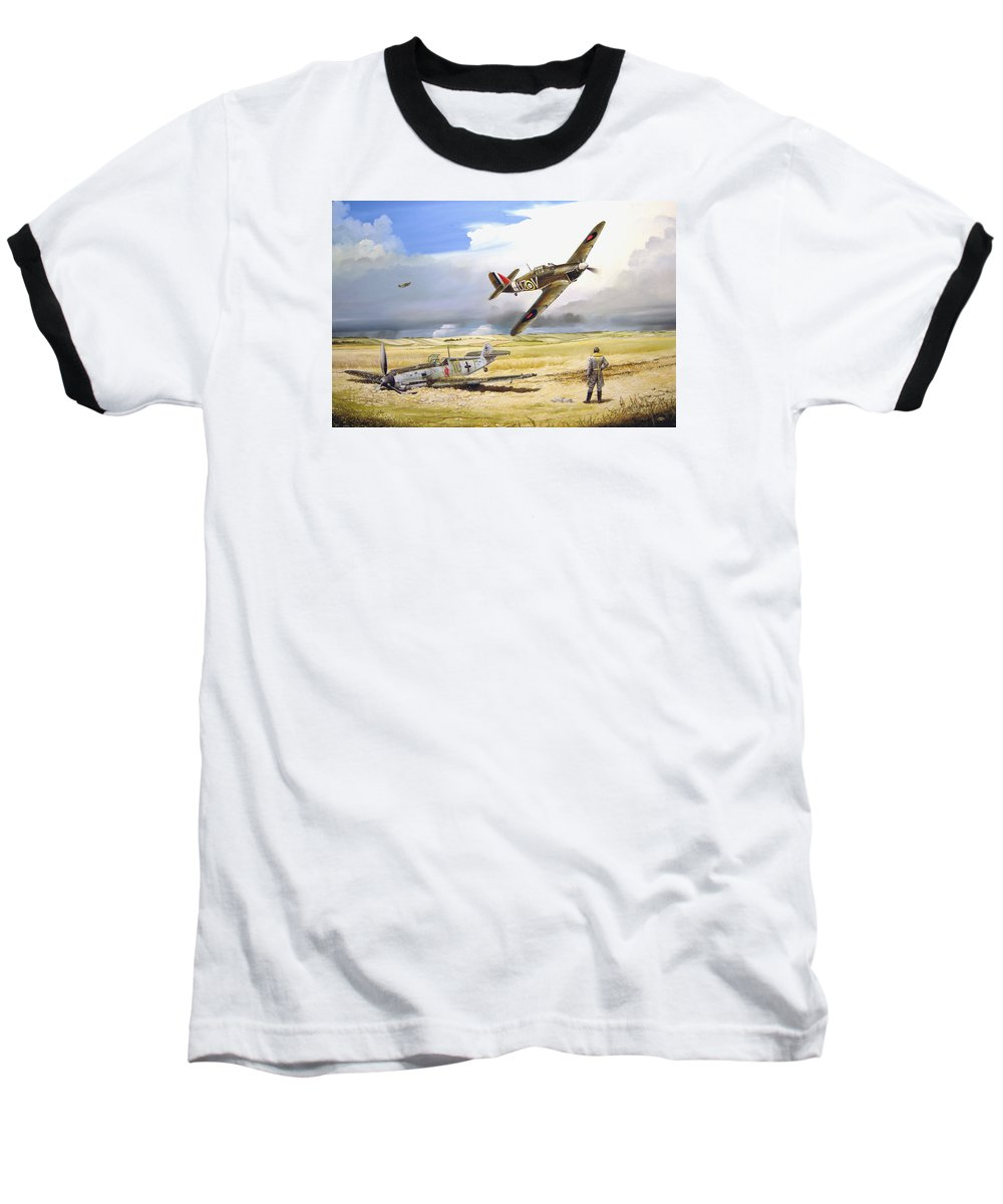 Painting Baseball T-Shirt featuring the painting Outgunned by Marc Stewart