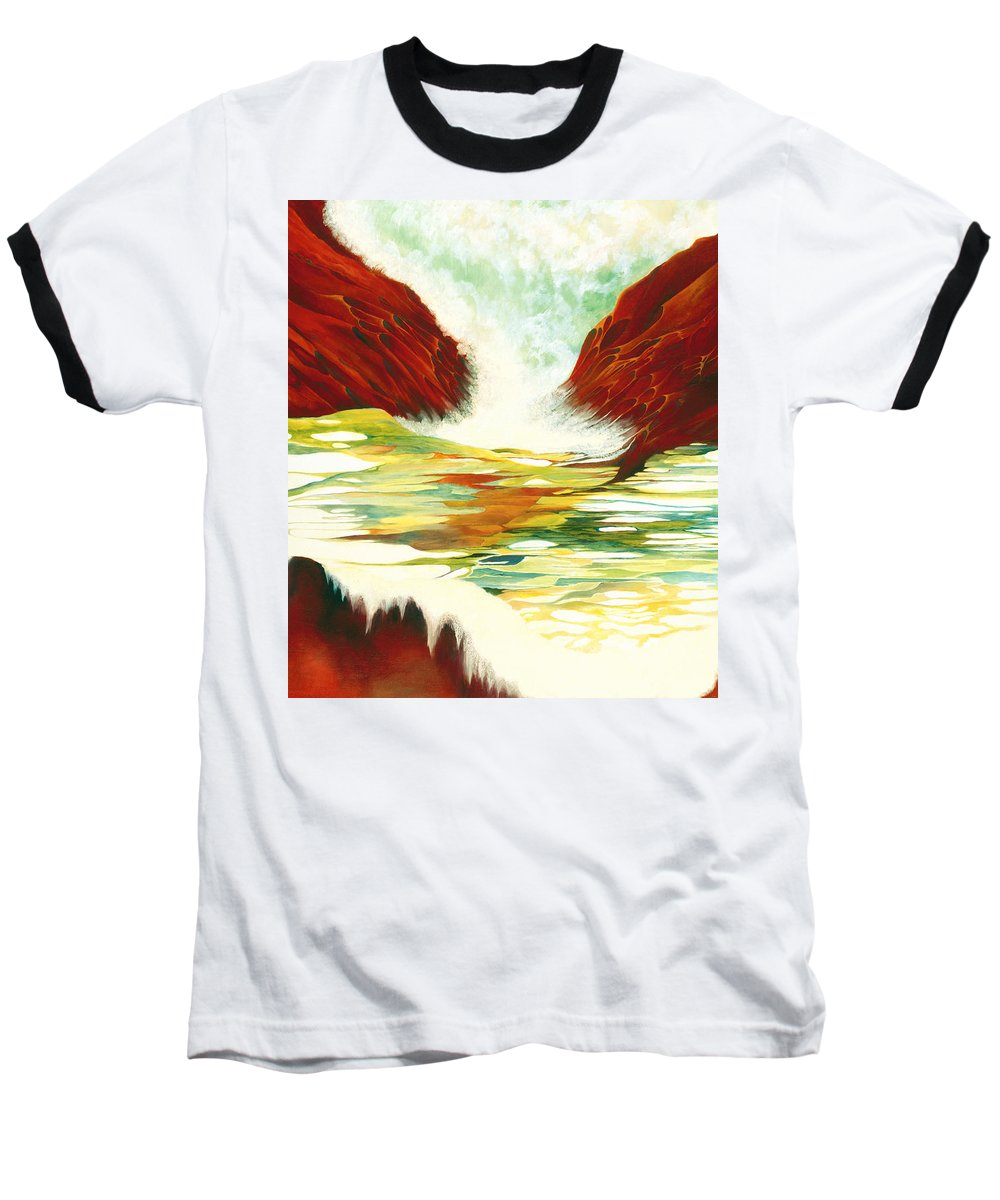 Oil Baseball T-Shirt featuring the painting Overflowing by Peggy Guichu