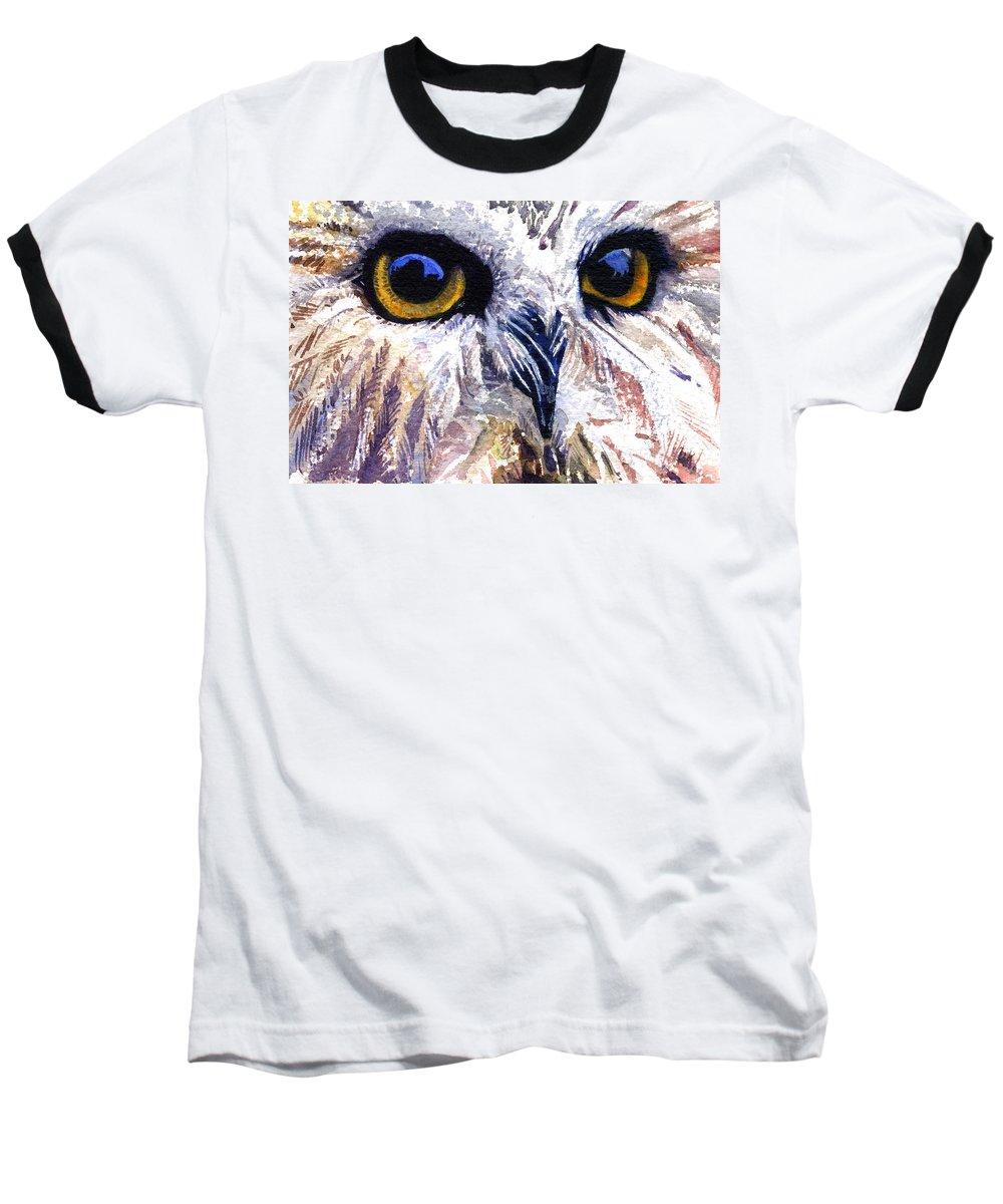Eye Baseball T-Shirt featuring the painting Owl by John D Benson