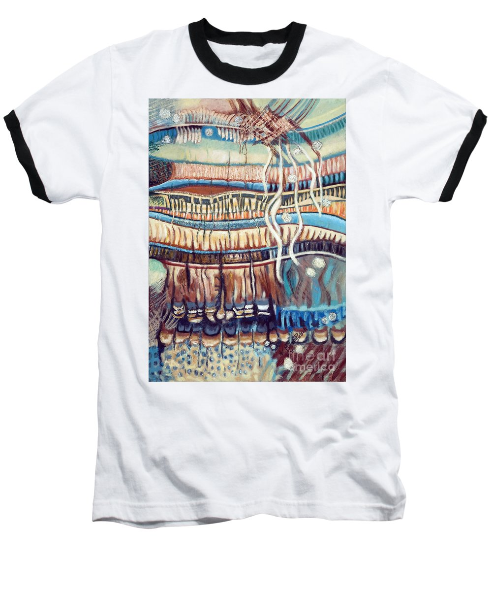 Abstract Baseball T-Shirt featuring the painting Palm Contractions by Kerryn Madsen-Pietsch
