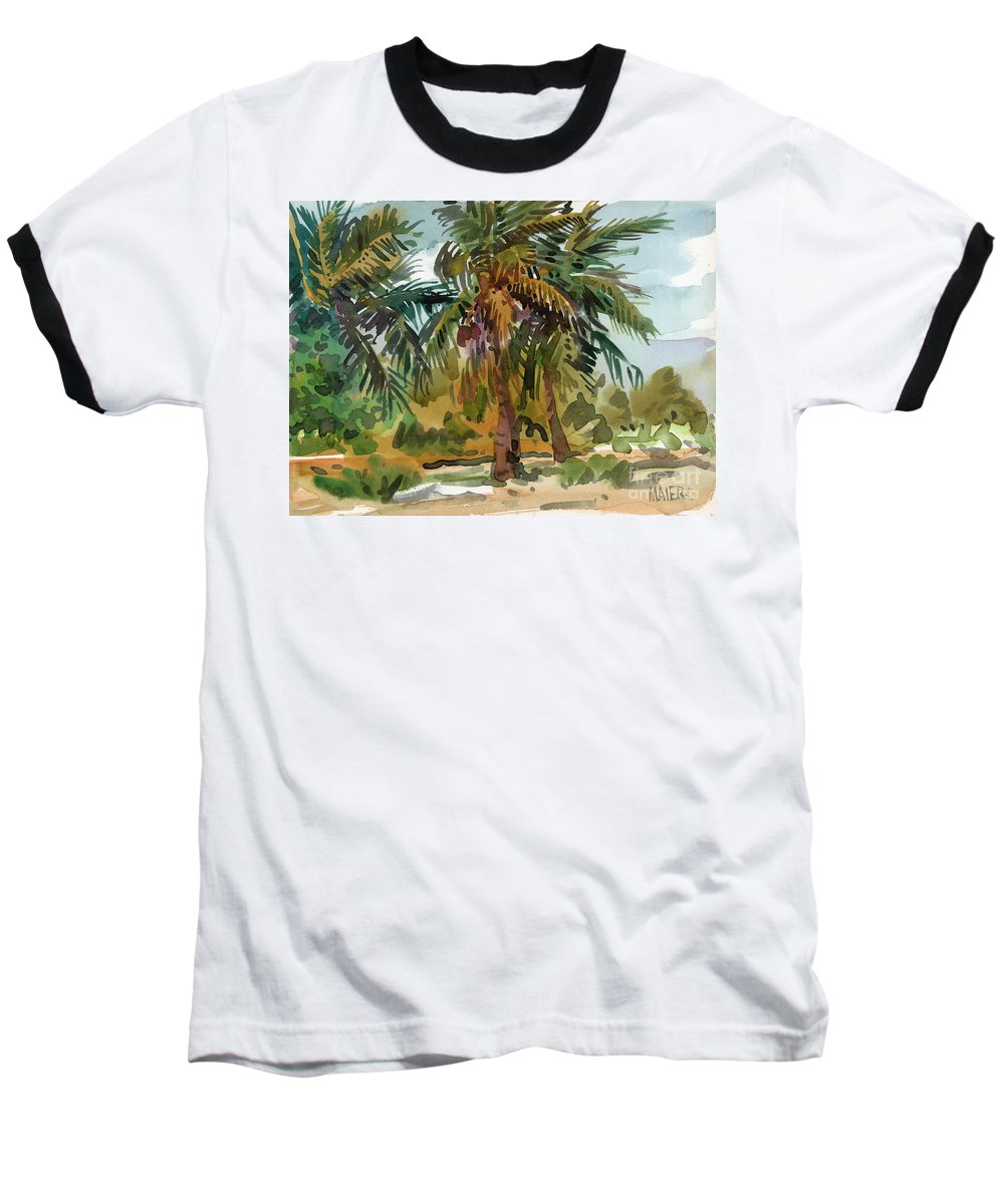 Palm Tree Baseball T-Shirt featuring the painting Palms In Key West by Donald Maier