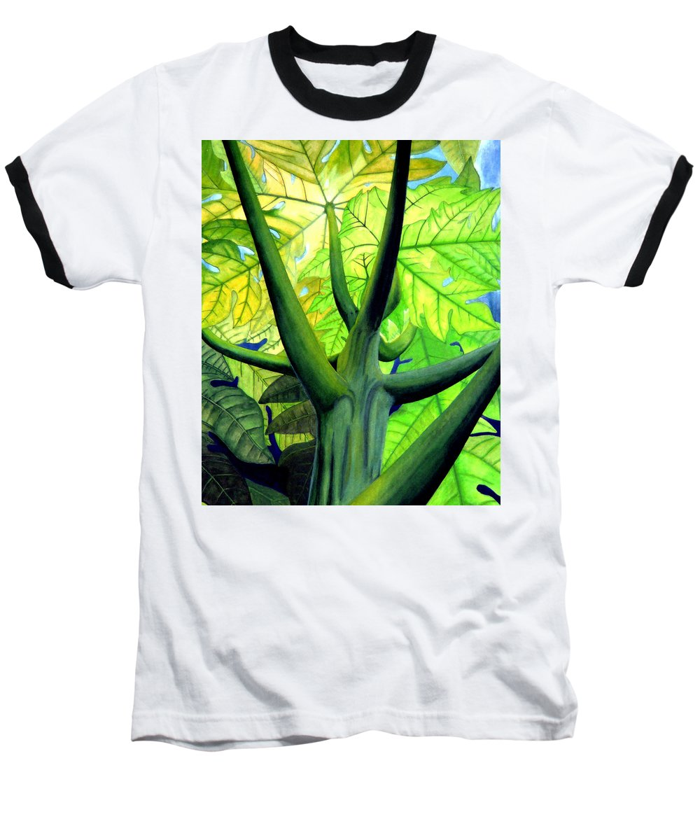 Papaya Tree Baseball T-Shirt featuring the painting Papaya Tree by Kevin Smith