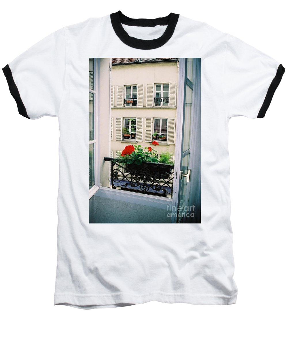 Window Baseball T-Shirt featuring the photograph Paris Day Windowbox by Nadine Rippelmeyer