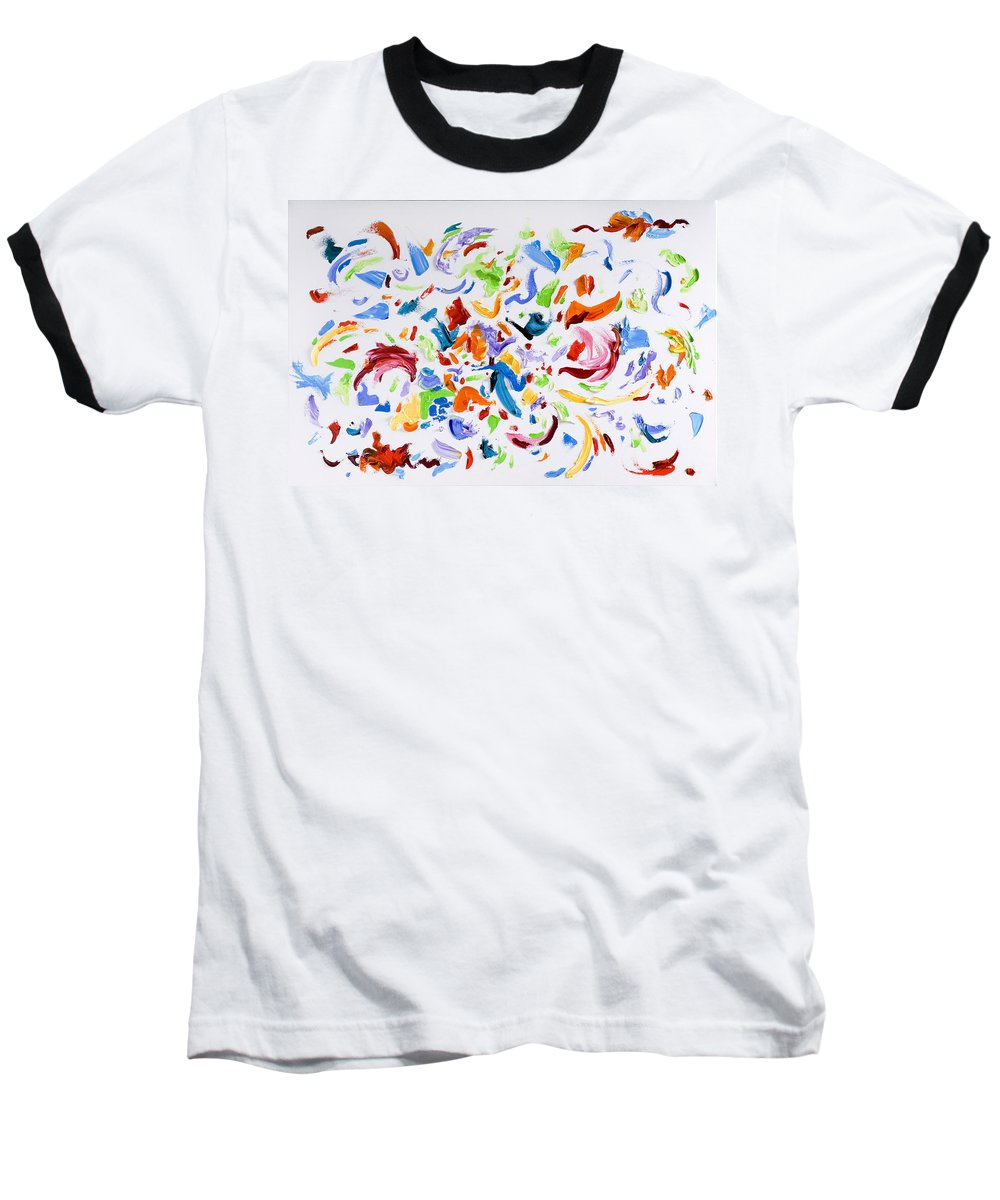 Red Baseball T-Shirt featuring the painting Party by Shannon Grissom