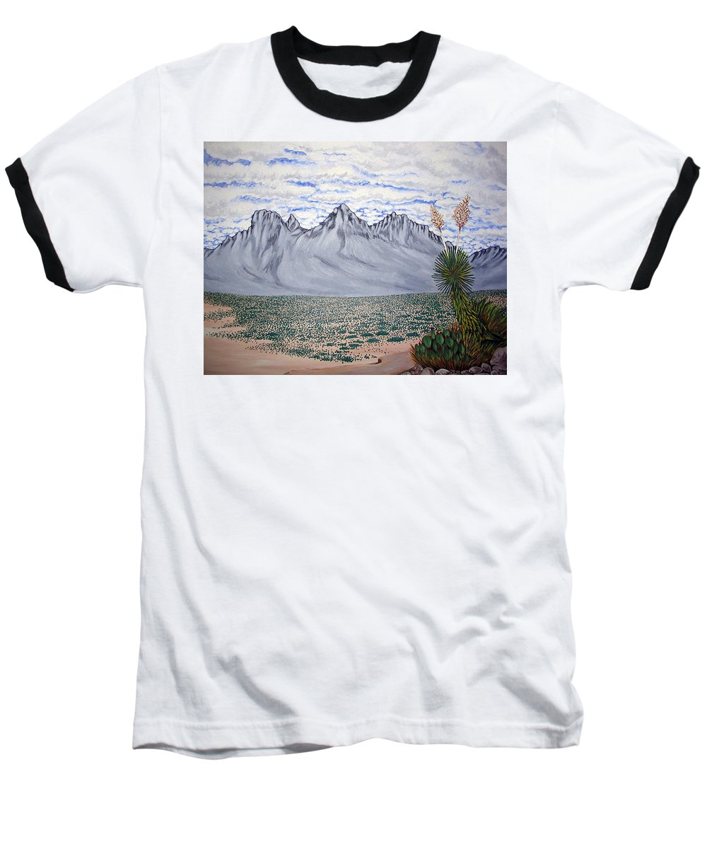 Desertscape Baseball T-Shirt featuring the painting Pass Of The North by Marco Morales