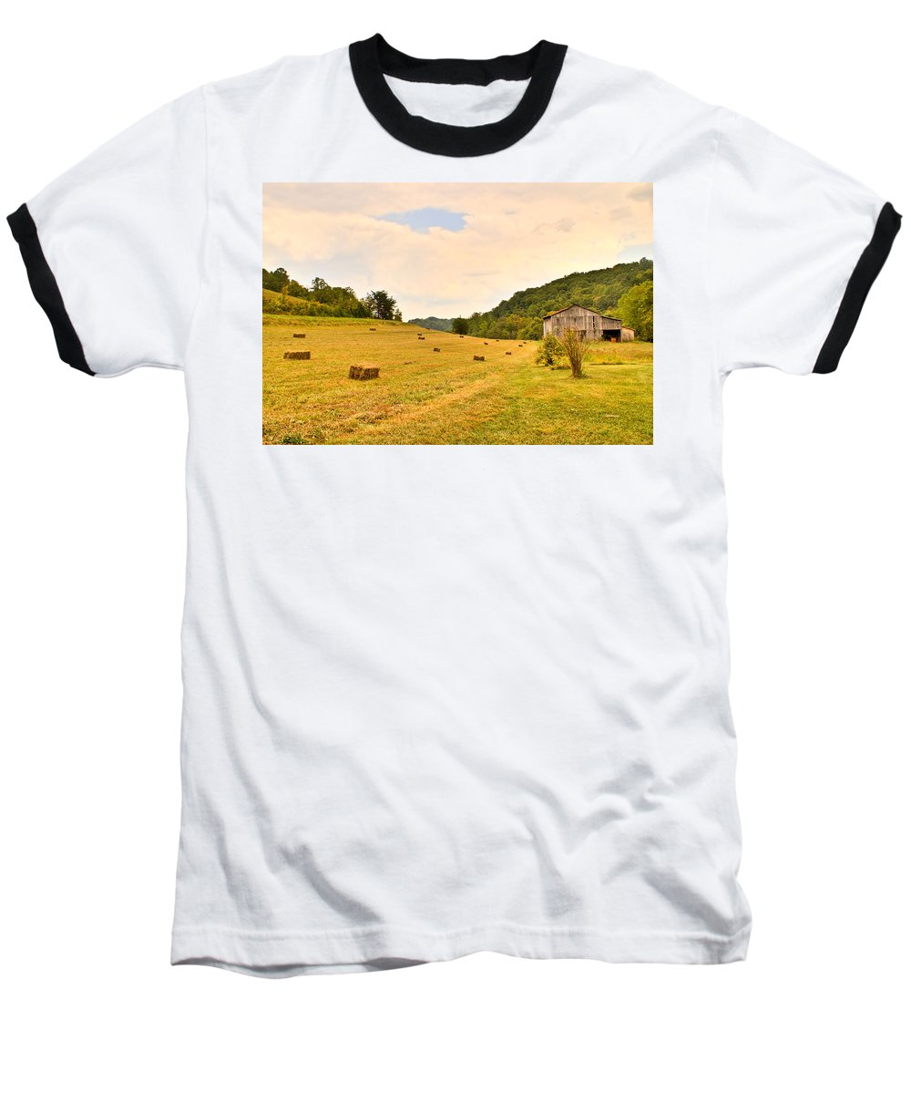Pastorial Baseball T-Shirt featuring the photograph Pastorial Framland In Kentucky by Douglas Barnett