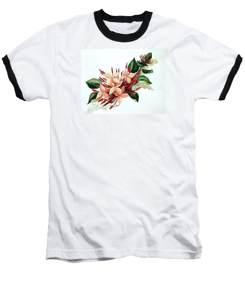 Floral Peach Flower Watercolor Ixora Botanical Bloom Baseball T-Shirt featuring the painting Peachy Ixora by Karin Dawn Kelshall- Best