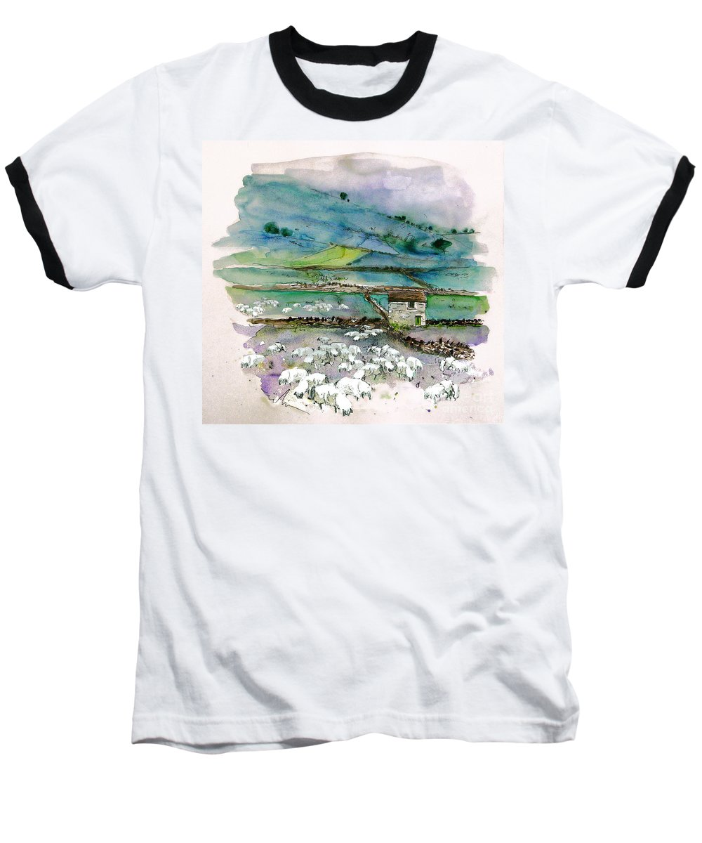Paintings England Watercolour Travel Sketches Ink Drawings Art Landscape Paintings Town Baseball T-Shirt featuring the painting Peak District Uk Travel Sketch by Miki De Goodaboom