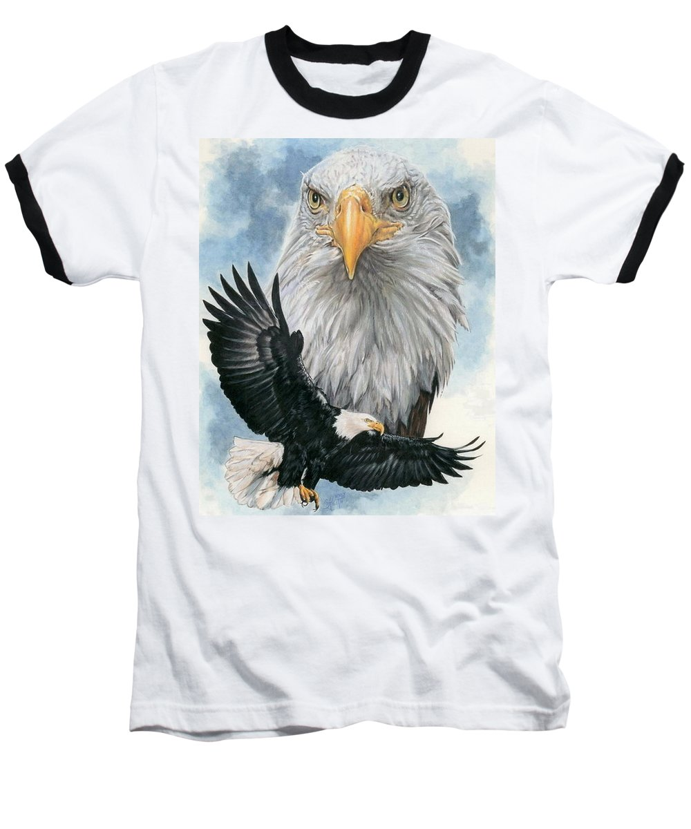Bald Eagle Baseball T-Shirt featuring the mixed media Peerless by Barbara Keith