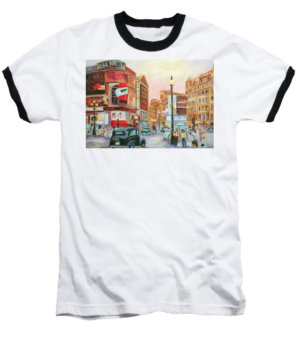 Cityscape Baseball T-Shirt featuring the painting Picadilly by Ginger Concepcion