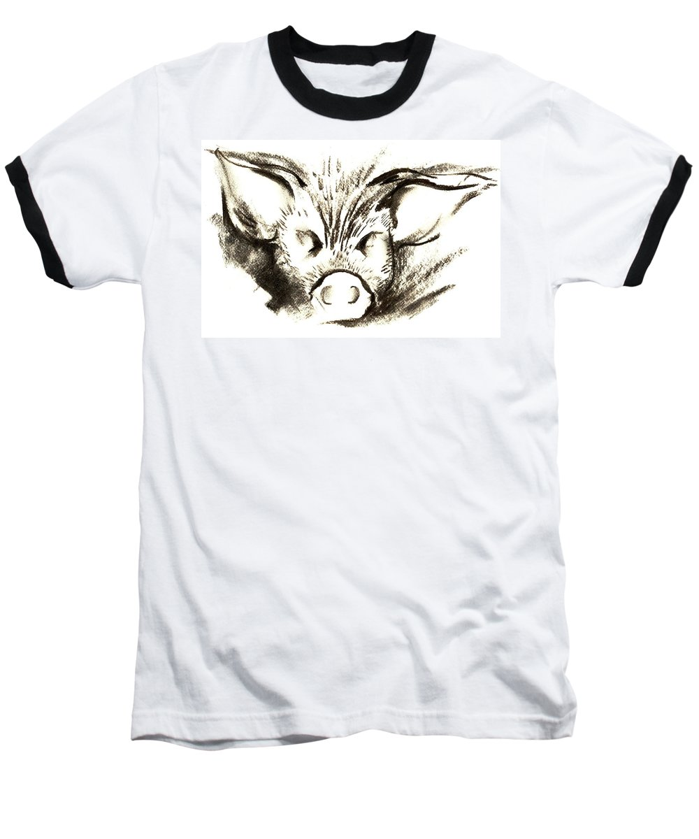 Animal Welfare Baseball T-Shirt featuring the drawing Pig Headed by Mark Cawood