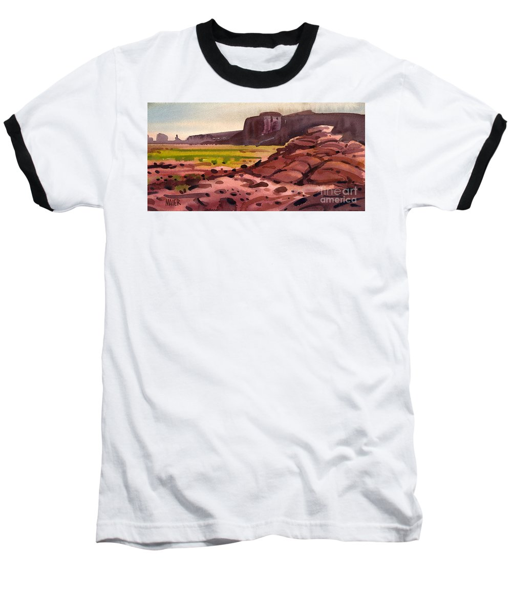 Monument Valley Baseball T-Shirt featuring the painting Pillow Rocks by Donald Maier