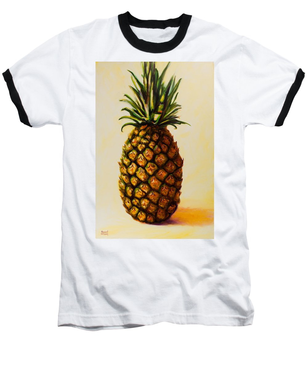 Pineapple Baseball T-Shirt featuring the painting Pineapple Angel by Shannon Grissom